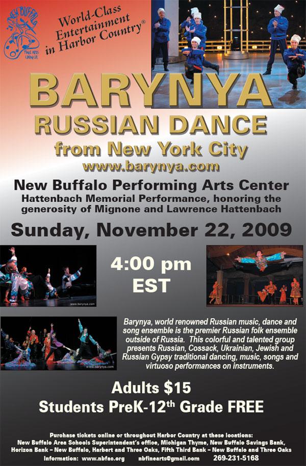 Barynya performance in New Buffalo Performing Arts Center, 1112 Clay Street, New Buffalo, Michigan 49117