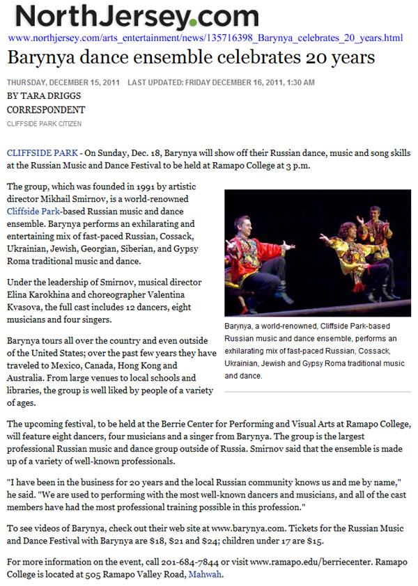 Barynya dance ensemble celebrates 20 years