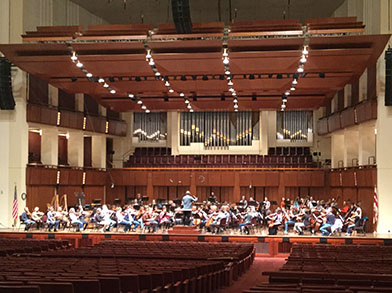 "Washington D.C., Kennedy Center Concert Hall, National Symphony Orchestra's rehearsal of Suite from ""The Legend of the Invisible City of Kitezh"" by Rimsky-Korsakov, Conductor Sir Mark Elder"