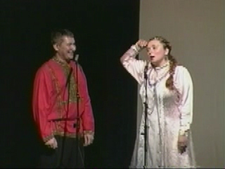 "Russian folk duo ""Misha and Natasha from Russia"" performing Tongue-Twister Song Natalia"