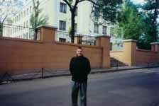 Misha Smirnov in front of Moscow school number 122