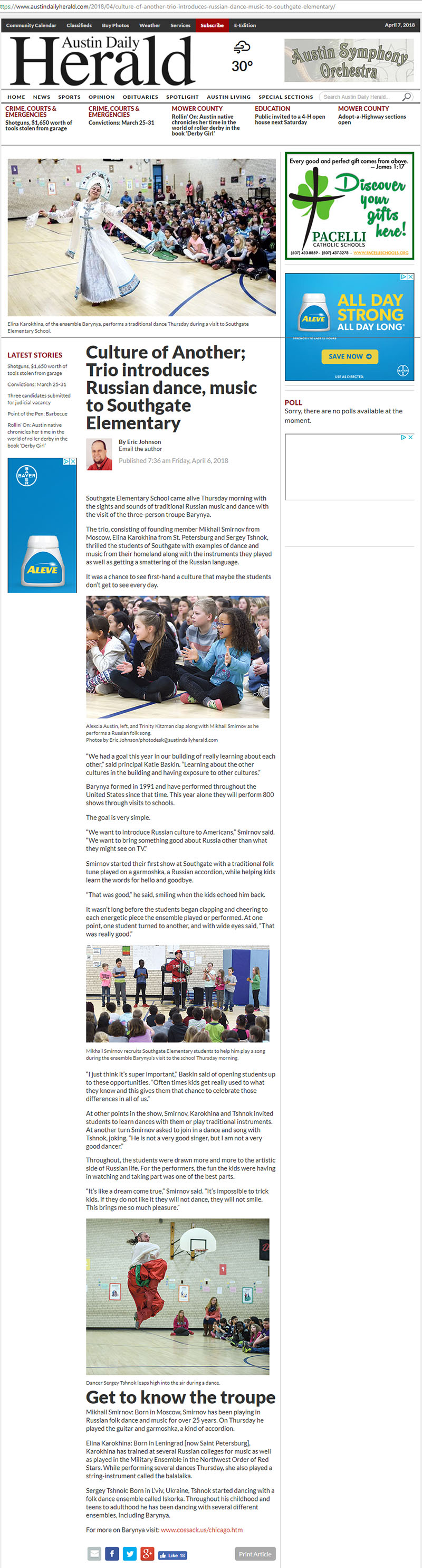 Culture of Another; Trio introduces Russian dance, music to Southgate Elementary, Article by Eric Johnson, Austin Daily Herald