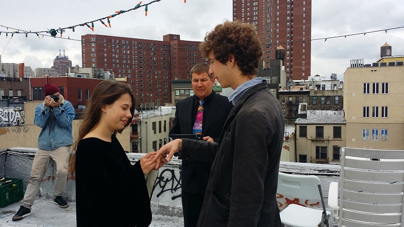Russian-American Wedding Ceremony, bilingual Russian-English wedding Minister Mikhail, rooftop, Lower East Side, New York City, Chinatown