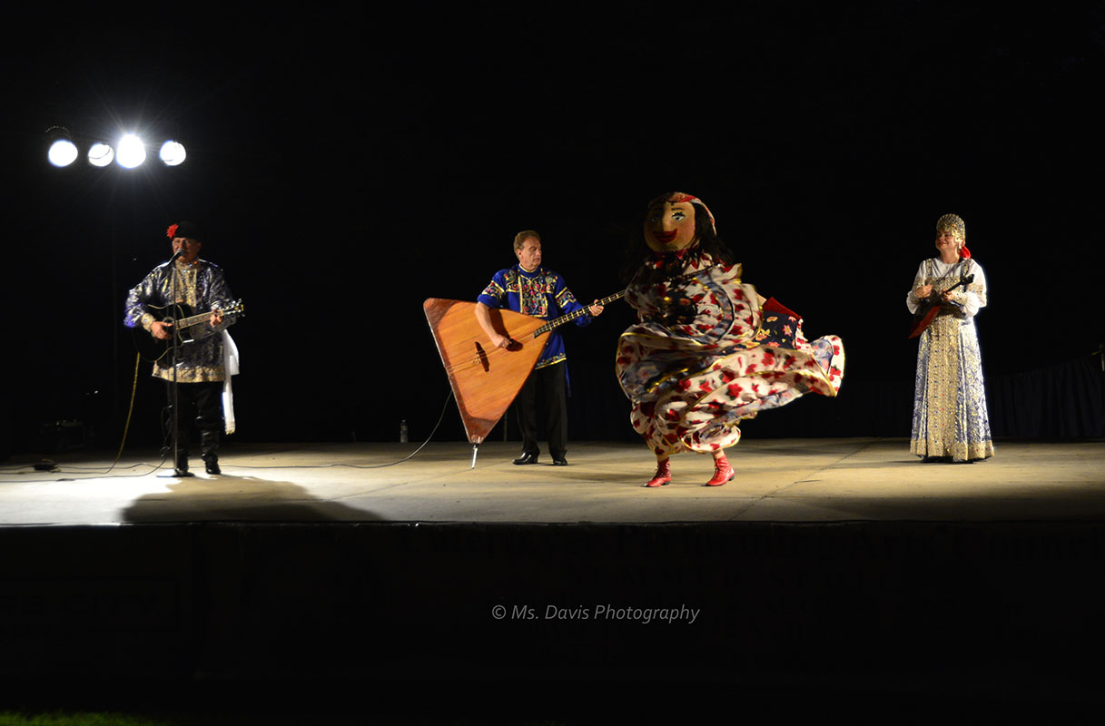 Barynya Song, Music & Dance Ensemble, Russian folk Dance, Mikhail Smirnov, Leonid Bruk with contrabass-balalaika, Elina Karokhina with balalaika, Gypsy Doll, Photo by Donna Davis, Ms. Davis Photography