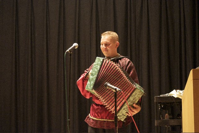 Ensemble Barynya, Russian garmoshka player Mikhail Smirnov, New Rochelle Public Library, New Rochelle, New York, Photo credit Teena Miller