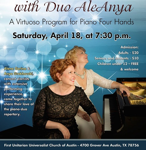 Duo AleAnya at the First Unitarian Universalist Church of Austin, 4700 Grover Ave, Austin, Texas  78756 on Saturday, April 18