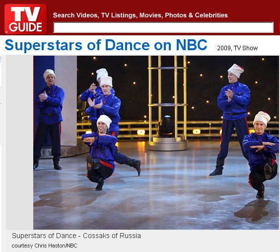 "Barynya Cossack dancers at the ""Superstars of Dance"", NBC, 2009, Photo courtesy Chris Haston/NBC"