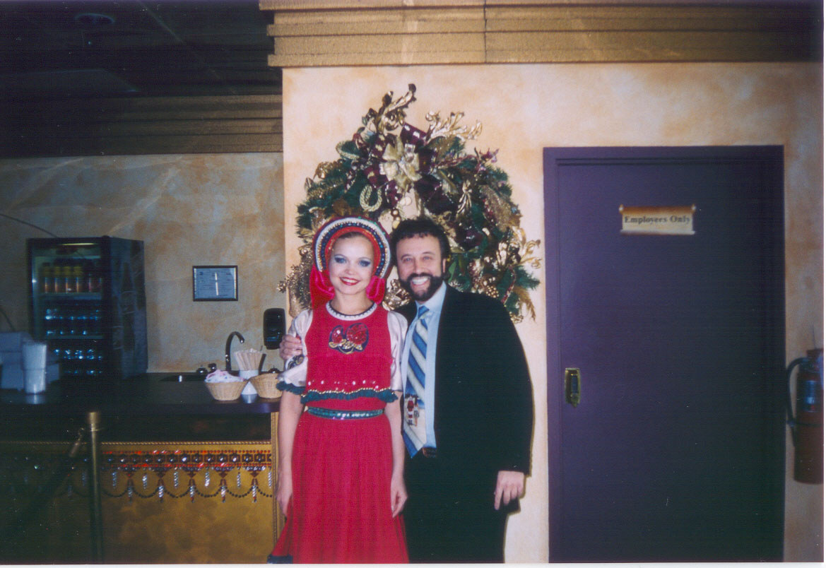 Russian folk dancer Valentina Kvasova with comedian Yakov Smirnoff