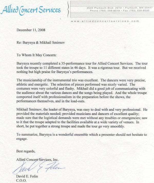 Recommendation letter for Barynya from Allied Concert Services. Midwest Tour 2008