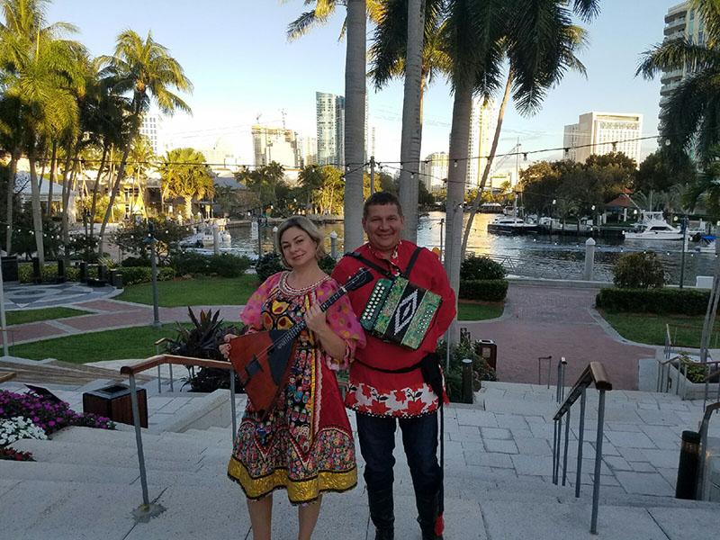 Russian Balalaika Duo, Elina Karokhina, Mikhail Smirnov, Mary Porter Riverview Ballroom, Fort Lauderdale, Florida