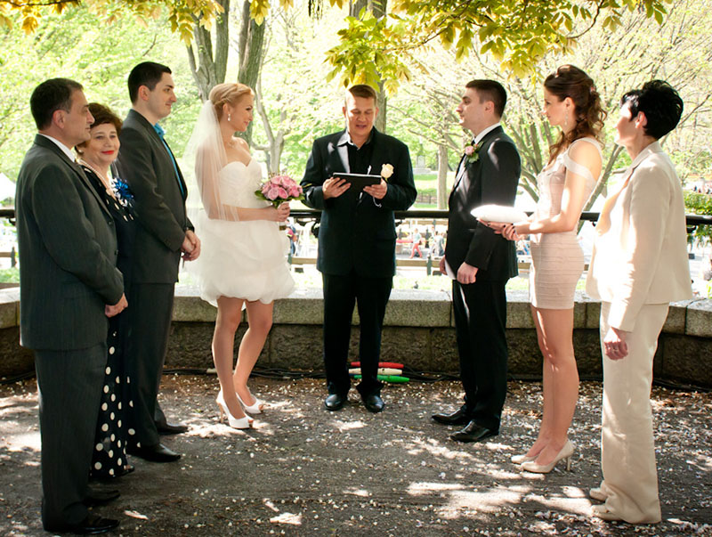 Russian Wedding ceremony, Russian wedding officiant Mikhail, May 4, 2012. Central Park New York City